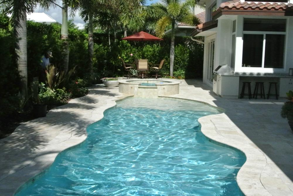 Pool Deck Remodeling, Resurfacing with Travertine Pavers in Boca Raton